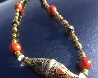 UNIVERSAL LOVE Necklace (Brass, Tibetan Silver, Sponge Coral, Bone, Moonstone)