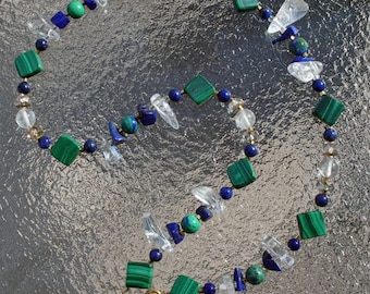 RIVER RAPTURE II Necklace (Malachite, Lapis, Quartz, Azurite)