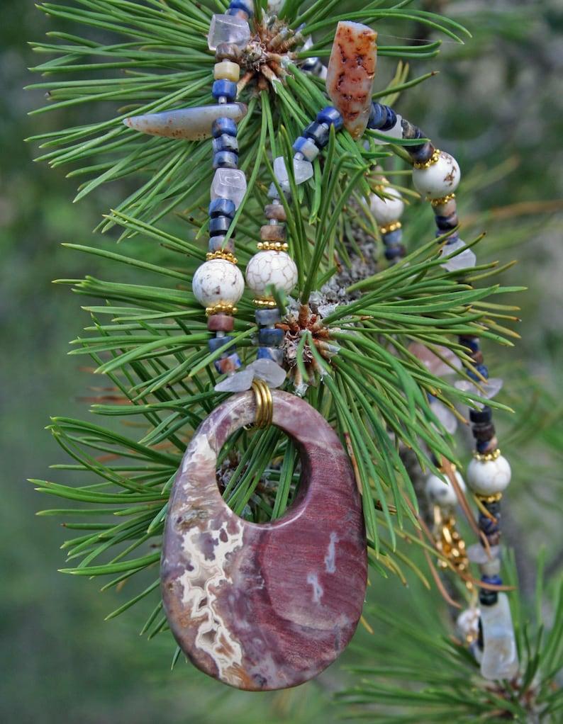 LOOKING THROUGH YOU Necklace Petrified Wood Lapis Lazuli image 0