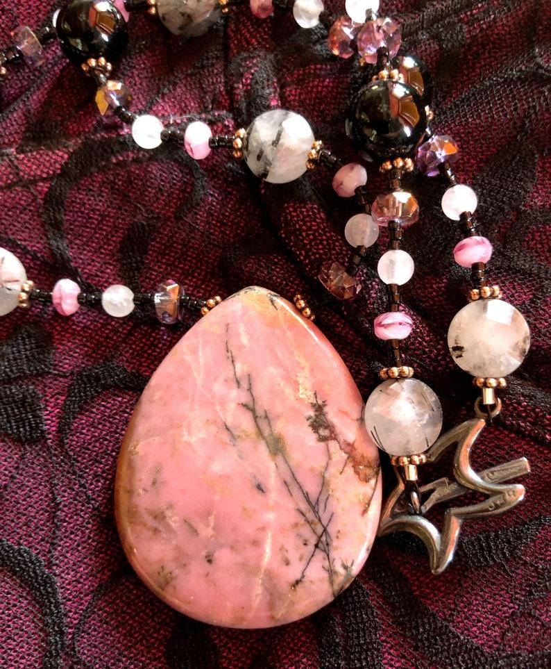 SONATA Necklace Rhodonite Rose Quartz Onyx Tourmalinated image 0