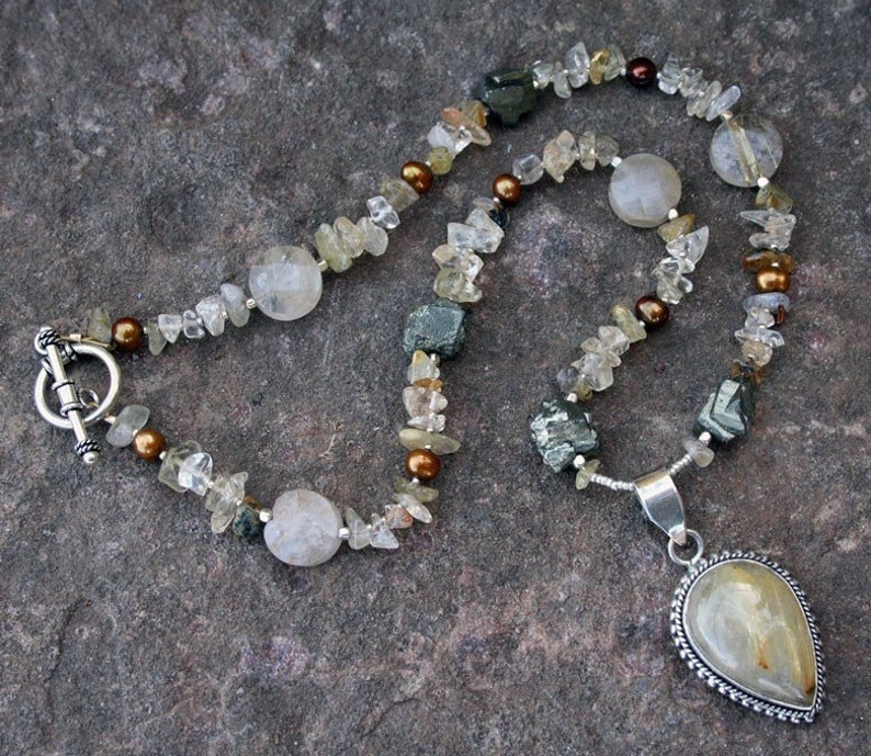 MOTHER EARTH Necklace Rutilated Quartz Pyrite Citrine Thai image 0