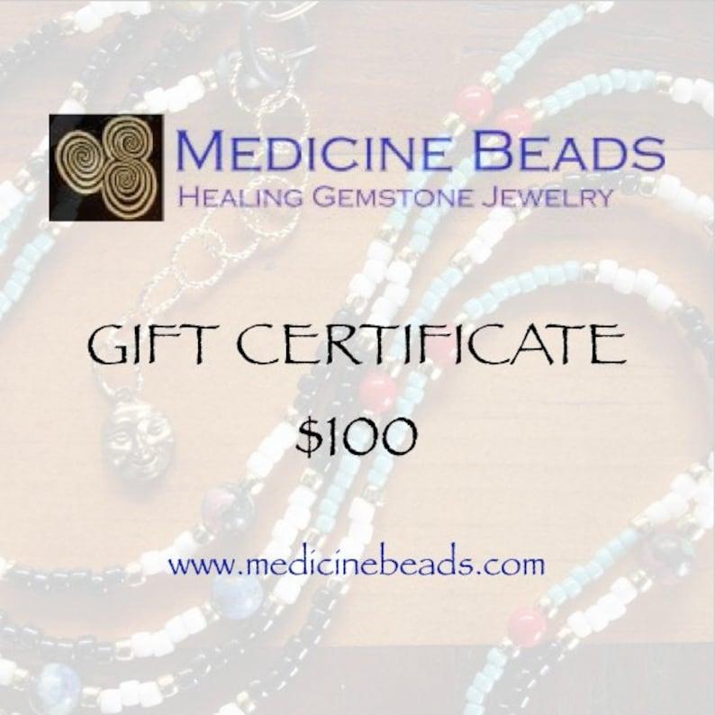 Medicine Beads Gift Certificate  25 dollars to 150 dollars image 0
