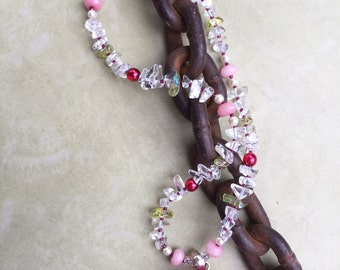 CRYSTAL ROSE Necklace (Quartz, Morganite, Glass, Swarovski Pearls)