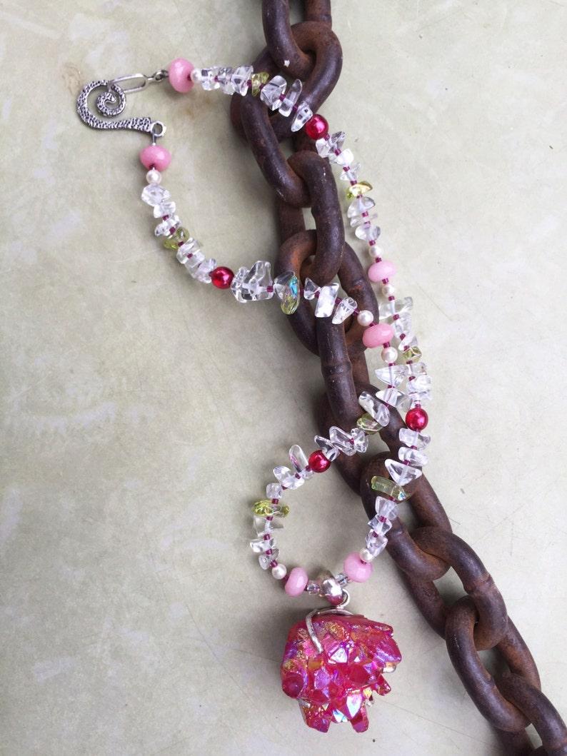 CRYSTAL ROSE Necklace Quartz Morganite Glass Swarovski image 0