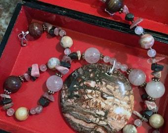 SHANGRI-LA Necklace (Crazy Lace Agate, Rose Quartz, Mookaite, Rhodonite, Hematite)