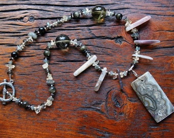 PRIMAL PULSE Necklace (Agate, Obsidian, Smoky Quartz, Labradorite, Lemon Quartz, Citrine)