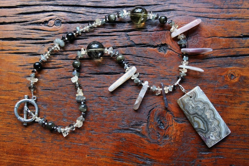 PRIMAL PULSE Necklace Agate Obsidian Smoky Quartz image 0