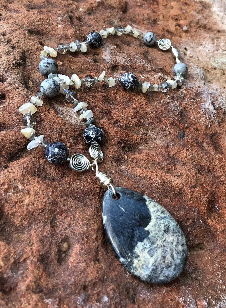SILVER LININGS Necklace Silver Jasper Marble Labradorite image 0