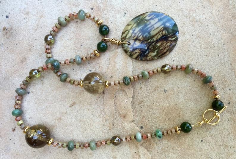 ON THE BAYOU Necklace Picasso Jasper Autumn Jasper Jade image 0
