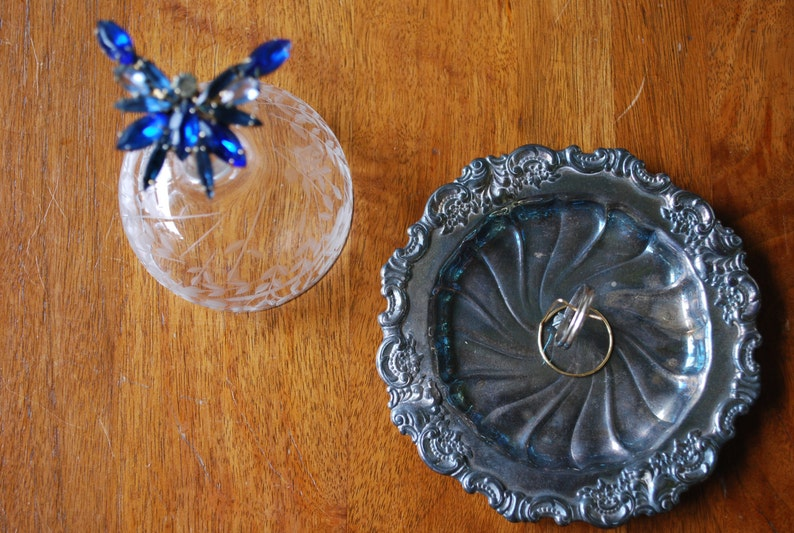 Jewelry Holder Garden Wedding Blue Butterfly Rhinestone Embellished Cloche with Silver Base Upcycled Vintage Bridal Ring Bearer