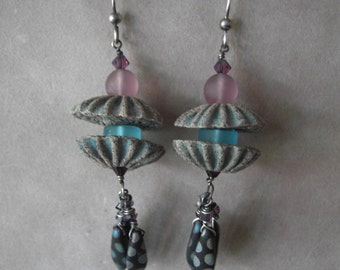 Jelly Fish Earrings with Clay Anemone Beads