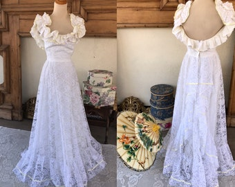 8d2af7bd6c7 1970s Vintage White Lace Southern Belle Style Gown By Dress Allure ILGWU  Size S