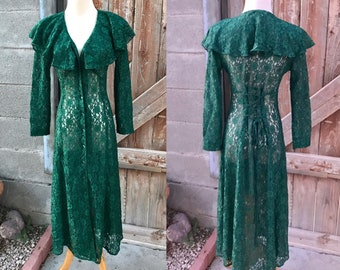 97bc258dfd1 80s Emerald Sheer Lace Romantic Dress Laces up Back by Joni Blair Size 5