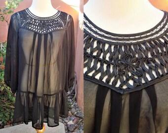 99fbcbd8 Sheer Black Vintage Peasant Blouse Soutache Bodice Detail Size M