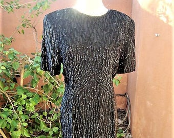 Vintage Little Black Silk Dress Drenched in Sequins By Stenay Size 10