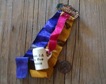 Antique Badge Ribbon Souvenir with Miniature Beer Stein