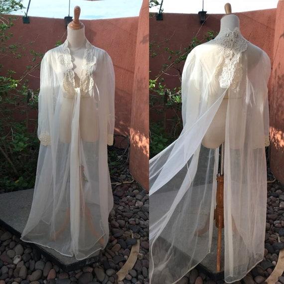 1980s Victoria\u2019s Secret Gold Label Sheer Ivory Chiffon Peignoir Robe Lace Trim Size L