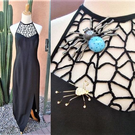 Vintage Black Maxi Spider Web Halter Bodice Dress