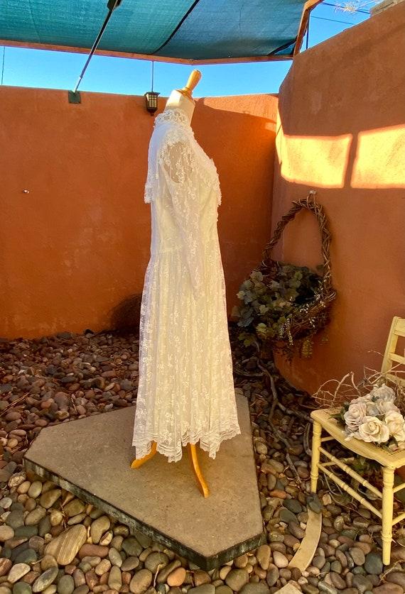 80s Vintage Jessica McClintock White Bridal Lace … - image 5