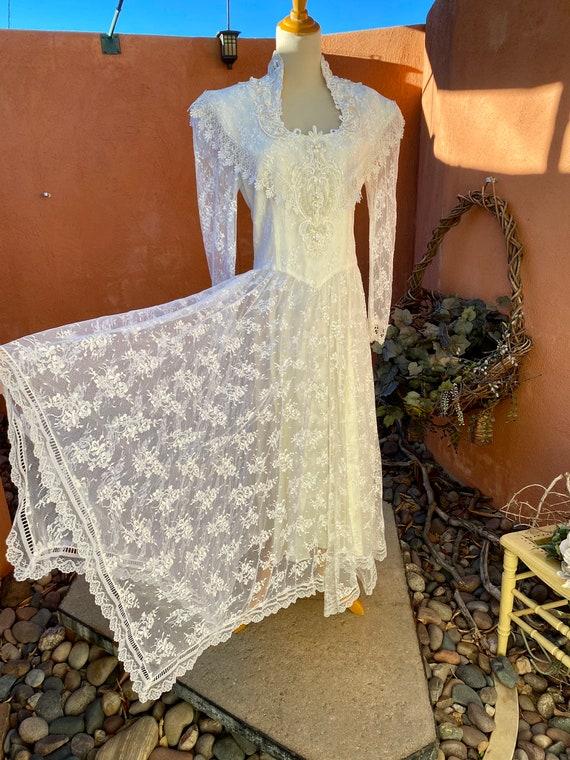 80s Vintage Jessica McClintock White Bridal Lace … - image 2