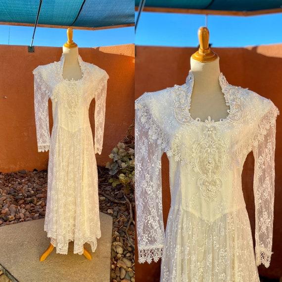 80s Vintage Jessica McClintock White Bridal Lace … - image 1