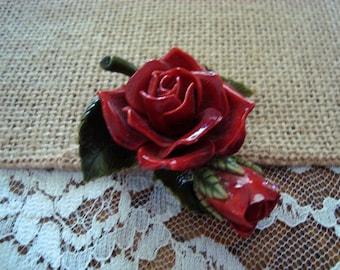 Retro Vintage Red Rose & Rosebud Brooch Pin Vintage Plastic Corsage