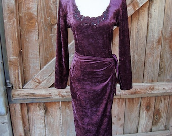 1980s Red Wine Crushed Velvet Wrap Front Dress by All That Jazz Size M