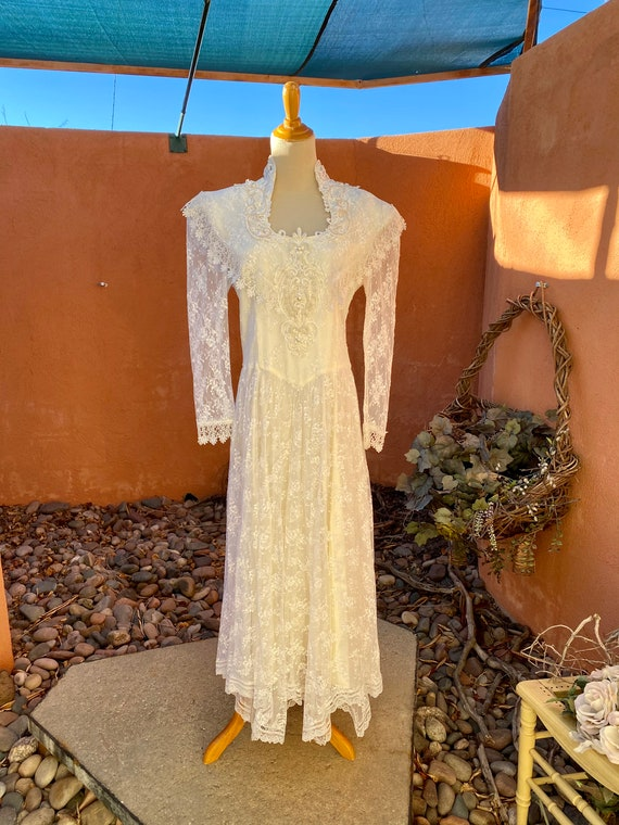 80s Vintage Jessica McClintock White Bridal Lace … - image 8