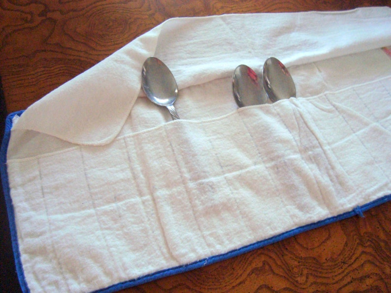 Midcentury Vintage Linen Embroidered Teaspoon Cutlery Holder for 12 Spoons