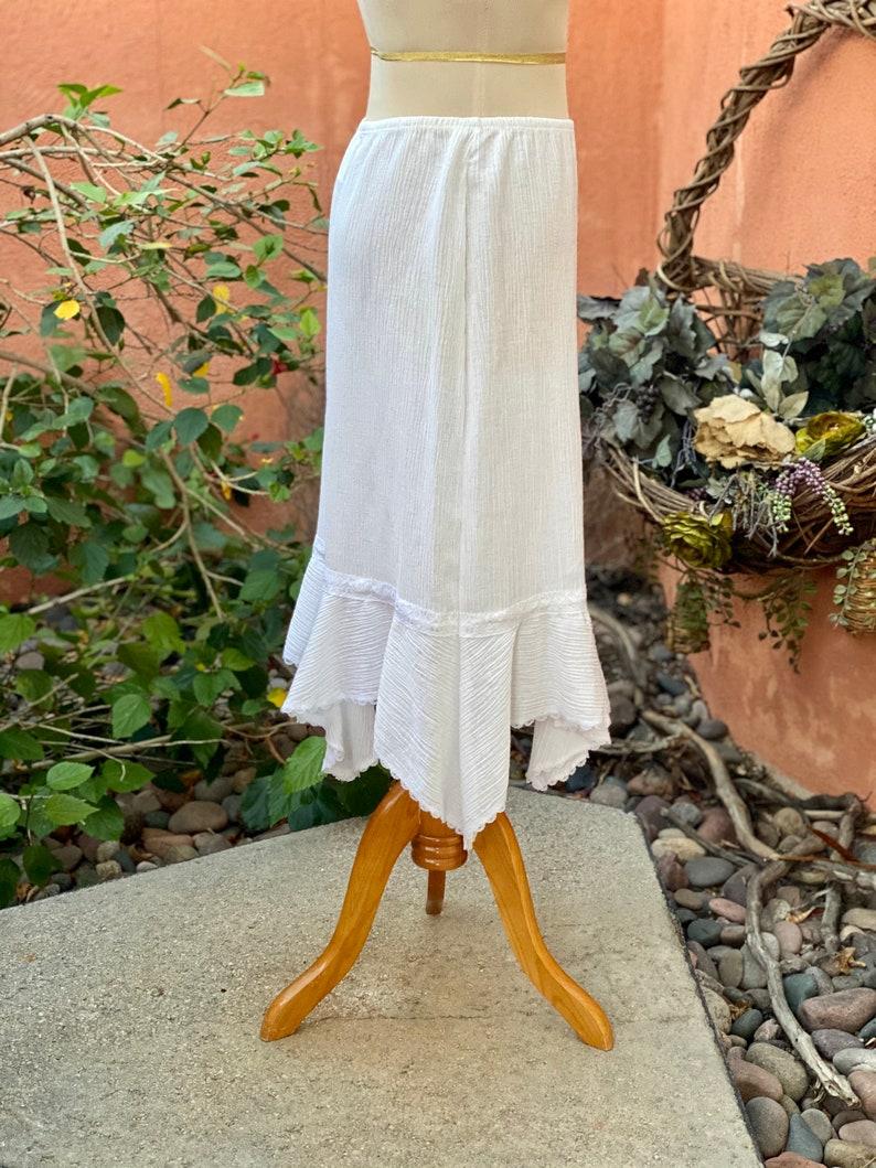 Vintage White Skirt Asymmetrical Hem Lace Trim By All That Size L