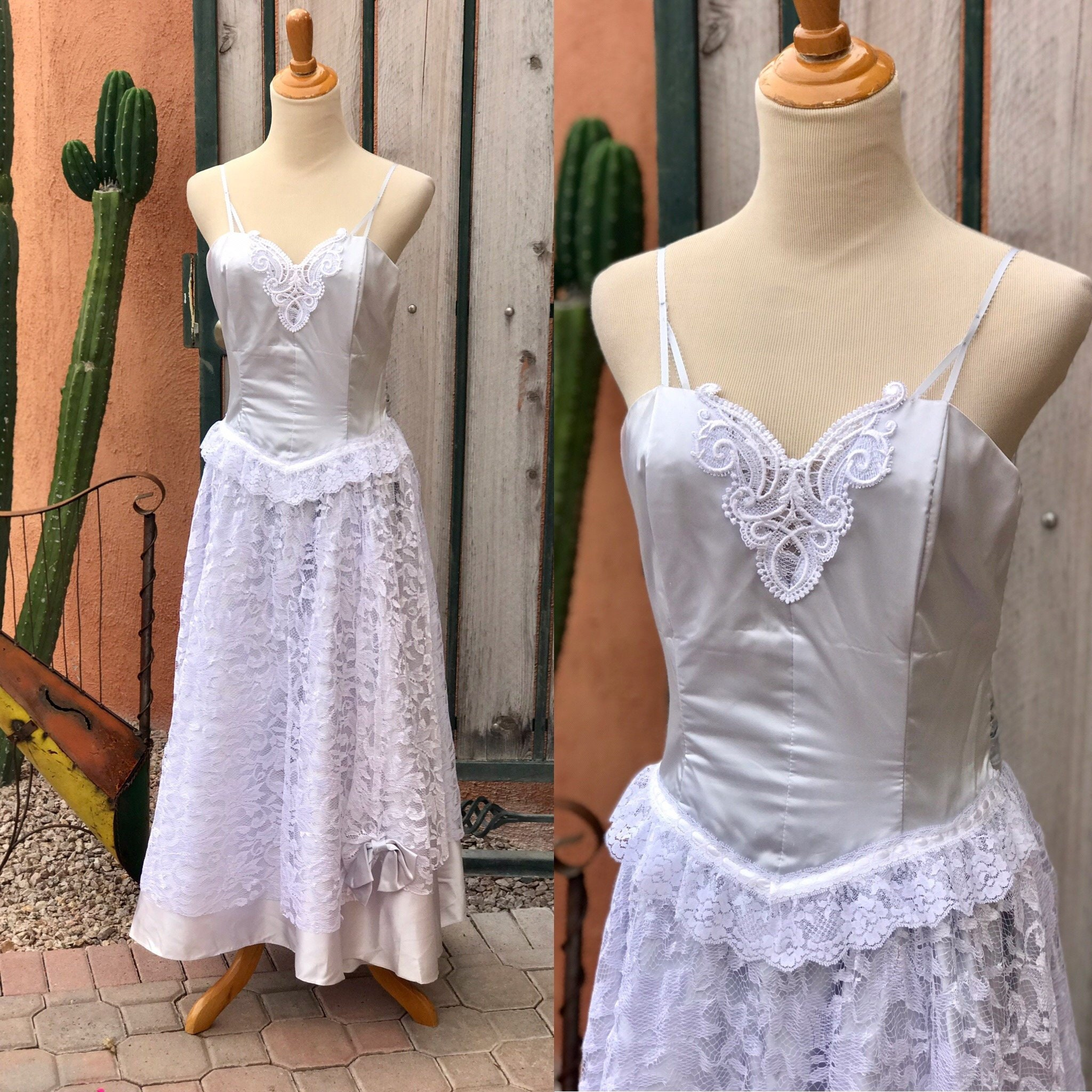 80s Dresses | Casual to Party Dresses 1980S Pale Blue Satiny Strapless Dress White Lace Overlay Tulle Slip By Steppin Out Size 11 $55.00 AT vintagedancer.com