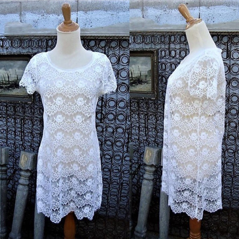 e6ec5ff32c8 Vintage Sheer White Lace Tunic Top Size S | Etsy
