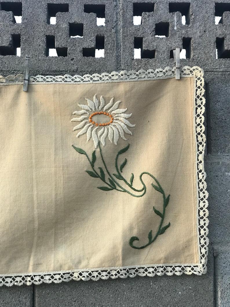Handmade 1920s Ecru Linen Table Runner Flower Embroidery Needle Lace Trim