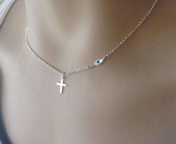 collier femme argent croix