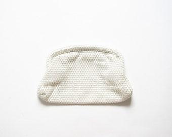 50s Clutch Mid-Century Winter White Pouch 1950s Sequin Mesh Handbag / 1960s Evening Bag 60s Mod Disk Futuristic Purse