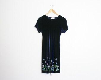 90s Velour Kawaii Dress / Blue Velvet Babydoll Lolita Dress / 1990s Floral Party Dress / Dolly Glitter Goth Vaporwave Soft Grunge / Medium