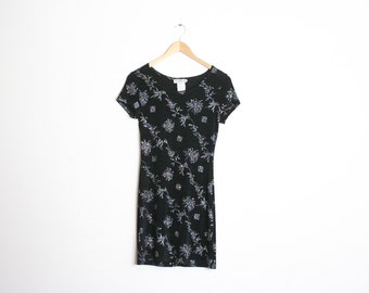90s Mini Party Sparkle Dress / 1990s Silver Metallic Black Cocktail Dress / Glitter Floral Print / Glitter Goth / Stretch Dress / Small