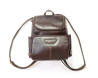Mini Backpack Purse 90s Vegan Coffee Bean Brown Leather 1990s Back Pack Knapsack Shoulder Bag Soft Grunge Minimalist Aesthetic Book Bag