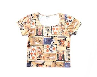 90s All Over Print Stretch Shirt 1990s Egyptian Print Hieroglyphics Y2K Tee Top King Tut Vaporwave Aesthetic Novelty T- Shirt Medium Large