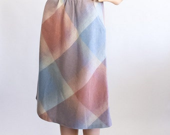 Pastel Plaid Wool Skirt 70s High Waisted Skirt 1970s Midi Skirt Spring Day Dress A-Line Extra Small