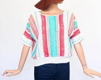 Woven Knit Top Slouchy Sweater Open Weave Fish Net Pastel Striped Boxy Crochet Blouse 80s Shirt 1980s Dolman Sleeve Open Size