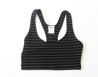 5cefdf9d3949b 1990s Ribbed Crop Top Sports Bra Racer Back 90s Tankini Cropped Midriff  Belly Shirt Striped Bralette Active Wear Athleisure Sporty Small Med