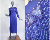 Sequin Gown Blue Beaded Silk Sparkle Formal Evening Dress Party Maxi Cocktail 80s Dynasty Full Length New Years Eve 1980s Glam Pageant Small