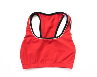 70e018f623 1990s Crop Top Red Sports Bra Racer Back 90s Tankini Cropped Midriff Belly  Shirt Bralette Active Wear Athleisure Sporty Cheerleader XS S M