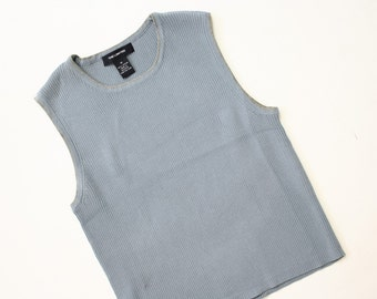 58867b8517867 90s Ribbed Top   1990s Stretch Knit Baby Ribs   Gray Baby Blue Tank Top    Sleeveless Sweater   Soft Grunge Shirt   NOS The Limited   Medium