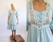 70s Prairie Dress Peasant 1970s Baby Blue Boho Midi Bohemian 60s Ruffle Floral 1960s Hippie Folk Spring Summer Pastel Poet Small Medium