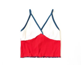 5b6b23f8 70s Crop Top 1970s Groovy Hippie Color Block Red White Blue Iconic Knit  Shirt Tank Baby Tee Stretch Ribbed Nautical Midriff Small Medium