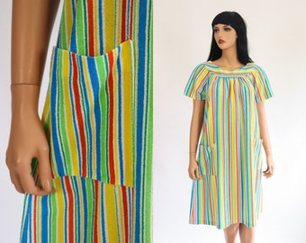 ba89d90e52 60s TERRY CLOTH Dress 1960s Beach Cover Up Summer Bathing Suit Swimsuit  COVERUP Beachwear Rainbow Striped Loungewear Osfm Small Medium Large