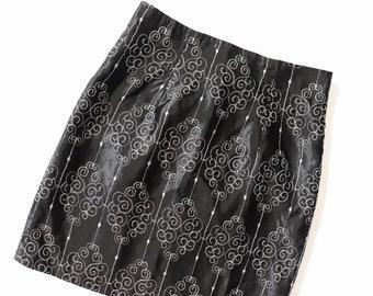 2ba243176d7f5 1990s Black SATIN Mini Skirt 90s EMBROIDERED Silver Metallic Club Kid Raver GLITTER  Goth Party Cocktail Mod Go-Go Cyber Punk Spice Girls xs