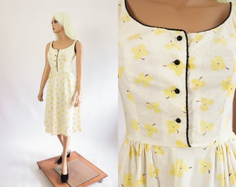 fe2ebe9dfa15 50s Cotton Dress 1950s Summer Floral BETTY BARCLAY Yellow Fit and Flare  Flower Print New Look Sundress 27 inch waist Small